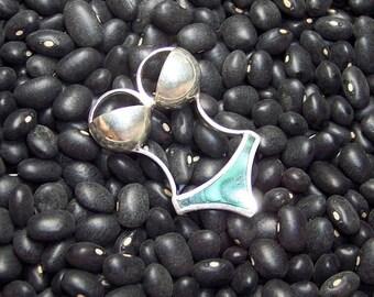 Stone Inlay Bikini Centerpiece - Malachite and Sterling Silver