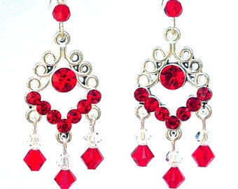 Long red chandelier earrings red crystal chandelier earrings red chandelier earrings valentines day gift for her swarovski crystal red filigree red aloadofball Choice Image