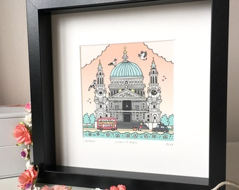 St Pauls Art. Giclee framed print, in 23cm x 23cm box Frame. Ready to hang.