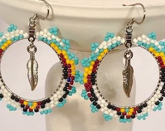 Seed Bead Hoop Feather Earrings