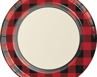 8 CT Plaid Large Paper Plates/ Buffalo Plaid Paper Plates/ Lumberjack Party Plates/ & 10 Tree Plates Lumberjack Party Woodland First