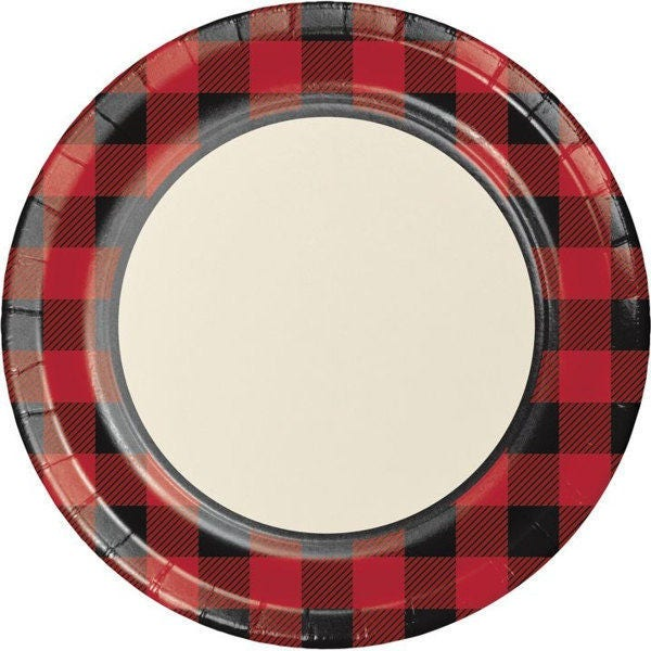 🔎zoom  sc 1 st  Etsy & 8 CT Plaid Large Paper Plates/ Buffalo Plaid Paper Plates/
