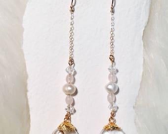 Rose Quarts Pearl Swarovski Crystal Water Earrings
