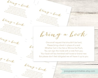 bring a book instead of a card insert printable baby shower DIY white gold glitter gender neutral digital shower games - INSTANT DOWNLOAD