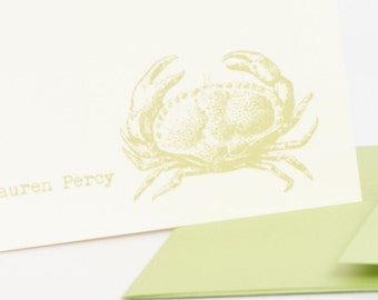 Crab Personalized Stationery Set (20) plus Matching Address Labels