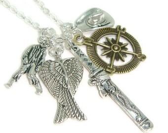 Zombie Hunter Necklace, Zombie Charm Necklace, Fandom Jewelry,  Horror Jewellery, Gift For Her, Apocalypse Survival, Katana Pendant