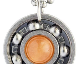 Orange Malaysian Jade Roller Derby Skate Bearing Pendant Necklace