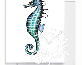 Seahorse Greeting Card, Blank Inside Card, For her, For Mom, Cards for girls