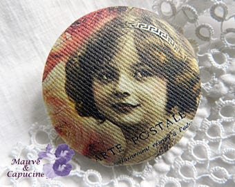 Button out of retro fabric, 32 mm / 1.25 in