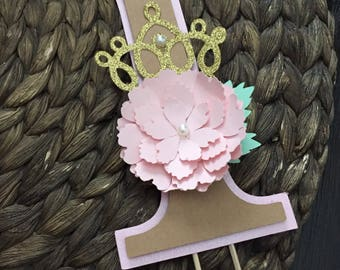 Crown Flower Cake Topper