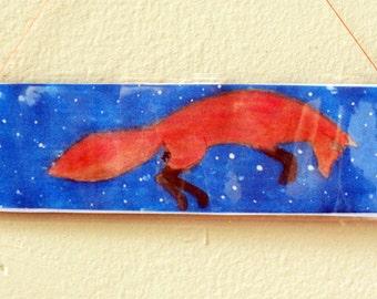 Watercolor Snow Fox bookmark