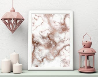 Rose Gold Marble Art Print, Marble Wall Art, Rose Gold Decor, Marble Poster, Marble Wall Decor, Marbled Poster, Prints