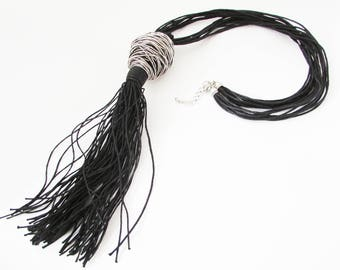 Long Black Leather Necklace, Long Cord Necklace, Abstract Necklace, Black Modern Necklace, Long Simple Leather Necklace, Black Necklace