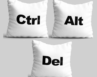 Throw pillow set of 3 computer Geeks white pillow cases office decor CTRL ALT DEL studio accent throw pillow unique nerds pillow cover Pkg30
