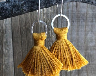 TASSEL Earrings | Mustard Yellow | Sterling Silver