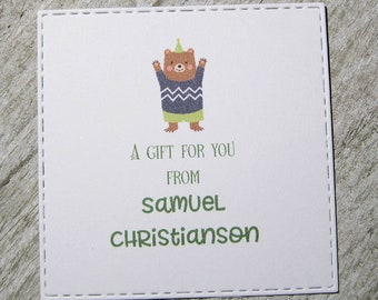 Party Bear Personalized Enclosure Cards - Gift Enclosure Cards - Set of 24 - Boy - Trending - Flat - One sided - Embossed edge