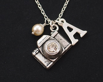 camera necklace, sterling silver filled, initial necklace,Swarovski pearl choice, silver camera charm with crystal lens,photographer jewelry