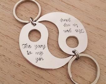 Yin Yang Keyring - Yin Yang Keychain - Hand Stamped Yin Yang Gift - Couple Keyring - Couple Keychain - Anniversary Gift - Best Friend Gift