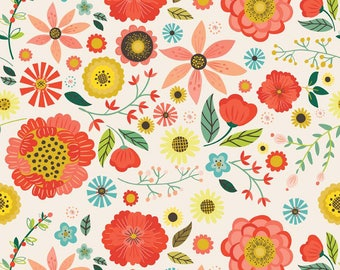 By The HALF YARD - Roots and Wings by Deena Rutter for Riley Blake, #C4150 Cream Roots Main, Large Red, Coral, Yellow, Blue, Pink Flowers