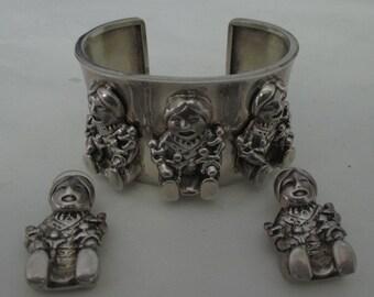 Corol Felley Story Teller Sterling Silver Bracelet Earrings Set 1988