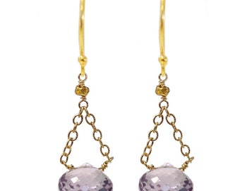 Amethyst and Gold Triangle Chain Earrings