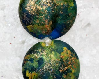 Handmade tie dyed lampwork lentil beads by joycelo