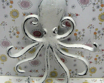 Octopus Cast Iron Tentacle Hook Nautical Pet Leash Scarf Jewelry Shabby Cottage Chic White White Distressed Beach House Nursery Sea Creature