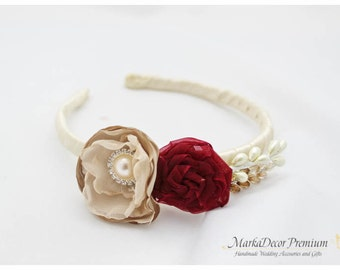 Bridal Flowergirl Headband with Handmade Flowers, my Stamen's Accent and Cluster in Cream, Champagne, Burgundy and Ivory