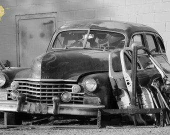 Better Days in Black and White Old Cadillac Photograph Great for  Garage or  Man Cave Masculine Print Wall Hanging Home Decor