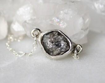 diamond choker, raw diamond necklace, rough diamond, recycled silver, huge diamond pendant