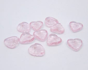 20 (10 x 9mm) Small Leaf Transparent Pink (Rosaline) Czech Pressed Glass, Top Drilled