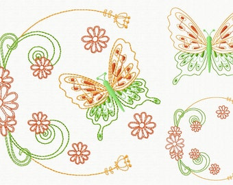 Machine Embroidery Design - Butterfly and Floral #08