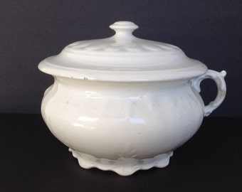 Antique Chamber Pot marked Smith Phillips Semi Porcelain with Lid