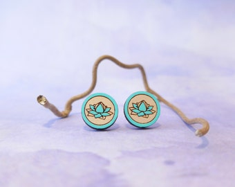 Blue Lotus Flower Earrings. Wooden Studs. Sterling Silver. Gifts for Her.