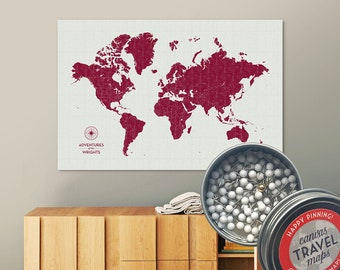 Vintage Push Pin Map (Berry) Push Pin World Map Pin Board World Travel Map on Canvas Push Pin Travel Map Personalized Gift for Family