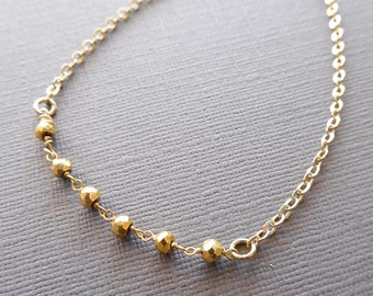 Gold Pyrite Chain Necklace / Dainty Layering  Necklace /Small Pyrite Necklace / Gold Pyrite Stones / Small Yellow Stone Necklace / GS2