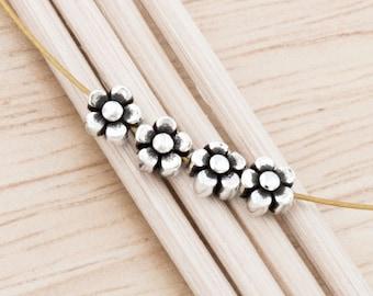 4 of 925 Sterling Silve Little Flower Beads 5mm. :th2465