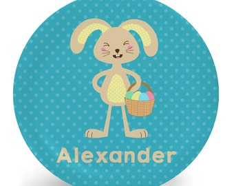 Easter Plate - Child's Plate - Child's Bowl - Easter Bunny Boy Melamine Bowl or Plate Personalized (Plastic)