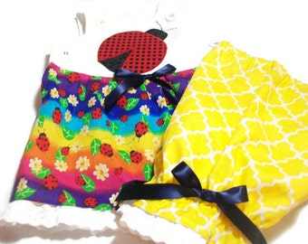 Baby Girl Clothes  - Ladybug outfit -  Ladybug Baby Gift - Ladybug Top and Pantaloons Set -  Baby Summer Wear