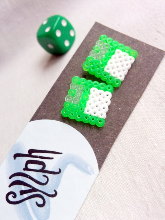 Neon green Geek IT floppy disk shaped stud earrings for geeks and gamer girls with retro style made out of Hama Mini Perler beads