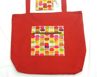 Reusable grocery tote. Reusable store bag. Macaroon tote bag. Lined store bag. Cotton grocery tote. Strong store tote. Large shopping bag