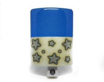 Blue Night Light - Star Pattern Plug In Night Light - LED Bulb - Boys Night Light - Night Lighting - NIght Lamp - Bedroom Night LIght - 3878