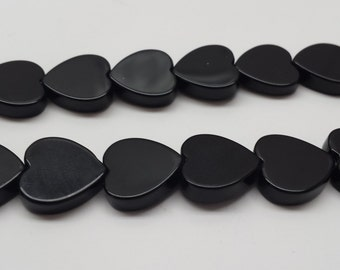 12mm Heart Shape Black Onyx Bead