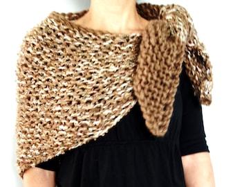 Shawl Knitting PATTERN - Claire's Outlander Inspired Wrap, Handknit Triangular Chunky Shawl