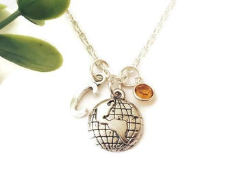 Personalised World Globe Necklace Travel Necklace Initial Necklace Wanderlust Jewellery Birthstone Necklace Gift for Traveller Travel Charm