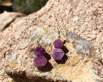 Raw, Natural, Mineral, Rock, Ruby, Corundum Stacked Earrings