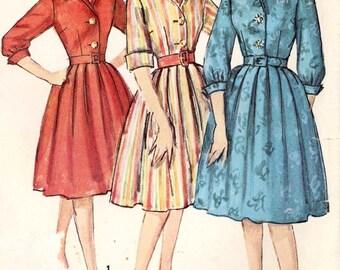 60s Rockabilly dress Shirtwaist full skirted dress Vintage sewing pattern Simplicity 4182 But 34