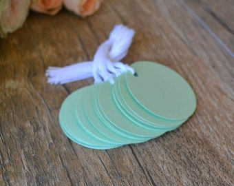 mint circle tags with string, mint circle price tags, mint circle favor tags, mint circle gift tags- 15 tags