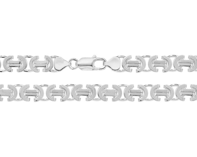 """Gents Solid 925 Sterling Silver Flat Byzantine 8mm Chain 20"""" 22"""" 24"""" 26"""" 30"""""""