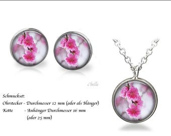 Jewelry Necklace and earrings-cherry blossoms-14